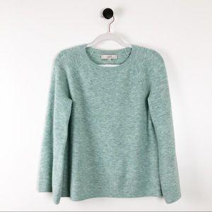 LOFT Cropped Boxy Sweater Womens Green Small